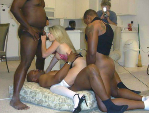 blonde interracial amateur gangbang