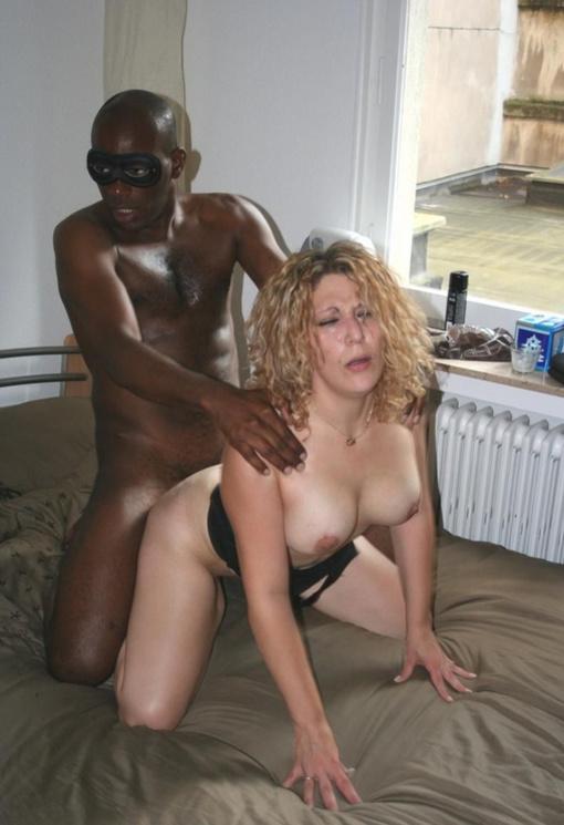 Mature amateur sucks black cock